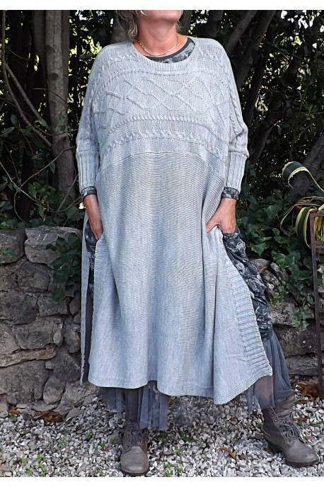 PULL LONG GRIS PERLE FLORENT
