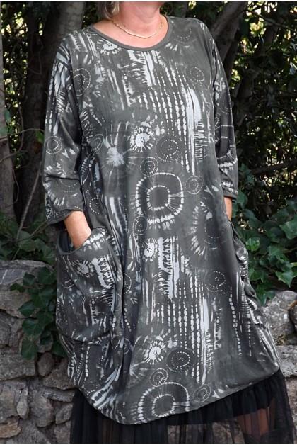 Robe manches longues Amandine kaki