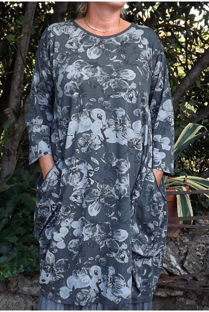Robe manches longues Amandine anthracite