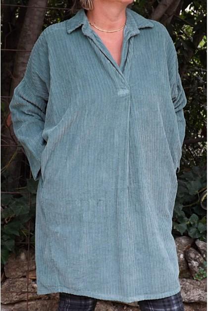 Robe ou tunique velours agnes vert jade