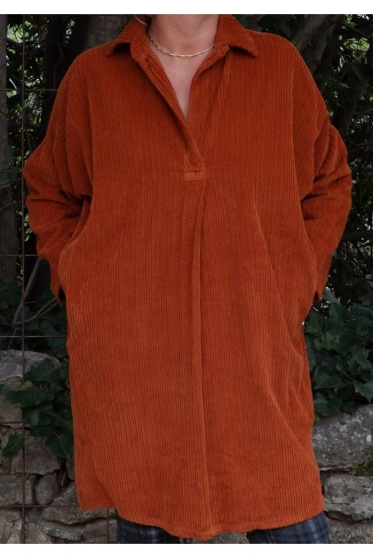 ROBE - TUNIQUE VELOURS ROUILLE AGNES