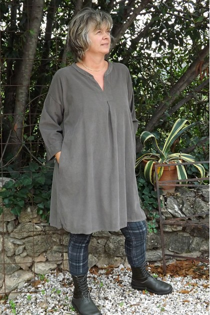 Robe velours milleraies Pauline taupe