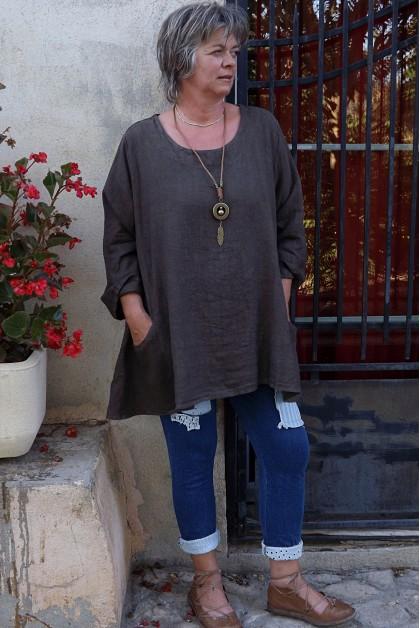 Tunique lin grande taille choco Lisa