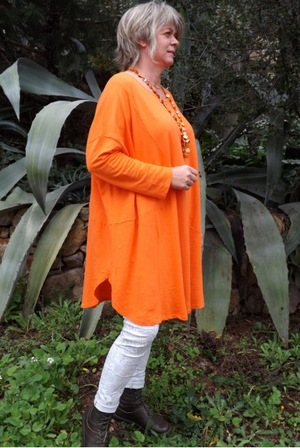 ROBE GRANDE TAILLE ADELIE ORANGE ET JEGGING JEAN