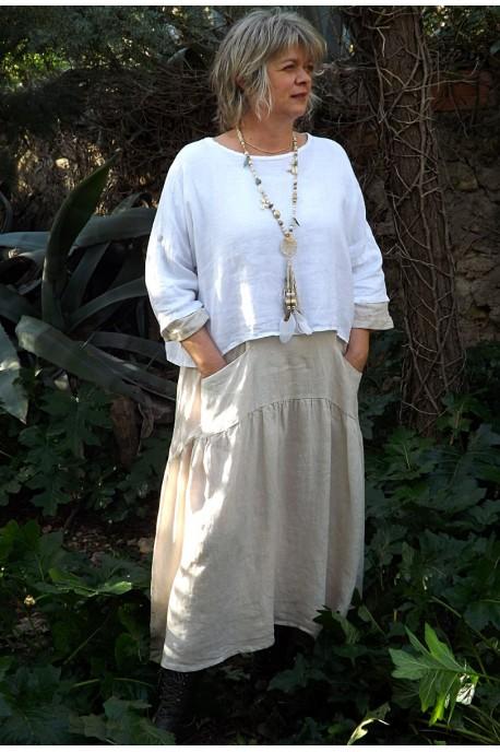 Top en lin Maxime blanc et robe Cassandre en lin