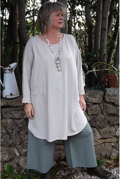 Robe grande taille Adèlie beige