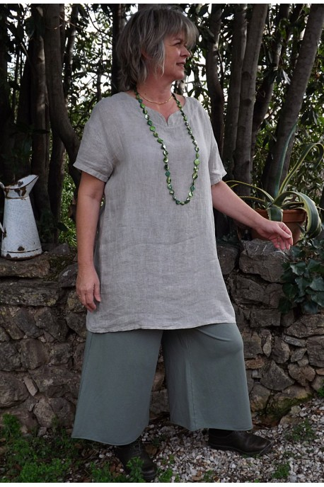 Tunique lin Elena taupe et pantalon augustin