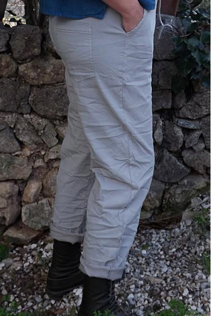 Pantalon grande taille gaston beige