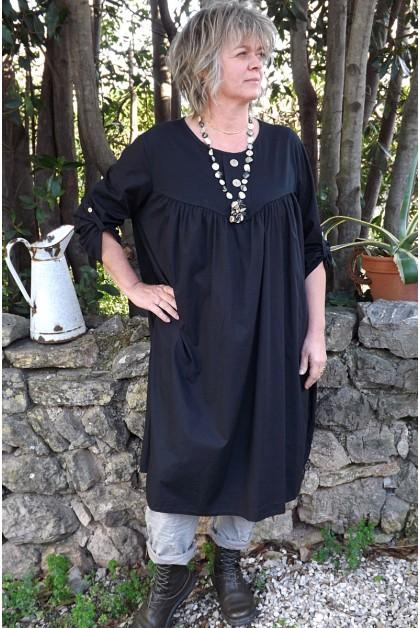Robe grande taille noire Hélène