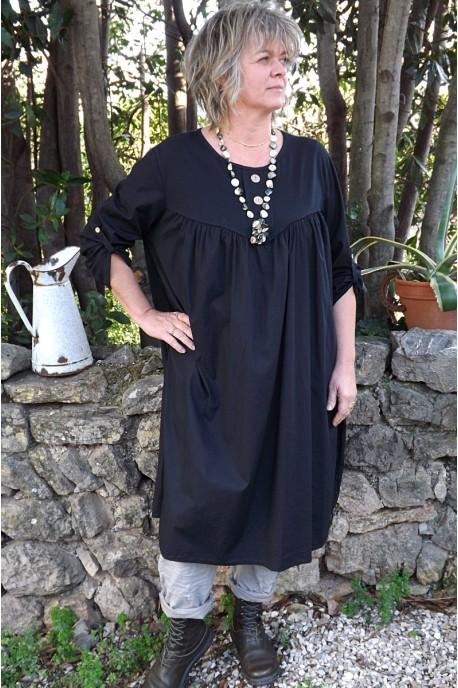 Robe grande taille noire Hélène et jegging Gaston
