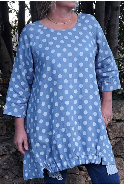 Robe ou Tunique lin Lola bleue