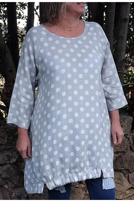 Robe ou Tunique lin Lola gris perle et pantalon Angus