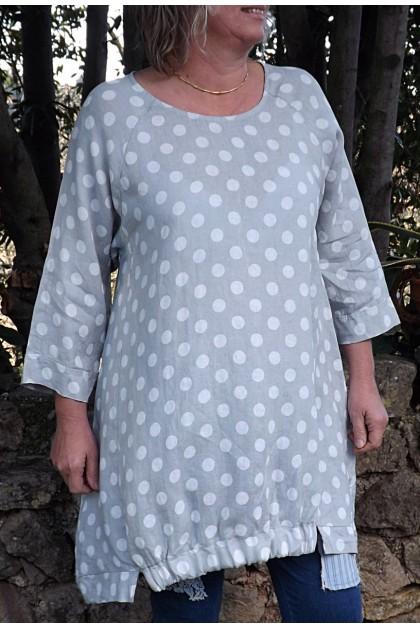 Robe ou Tunique lin Lola gris perle