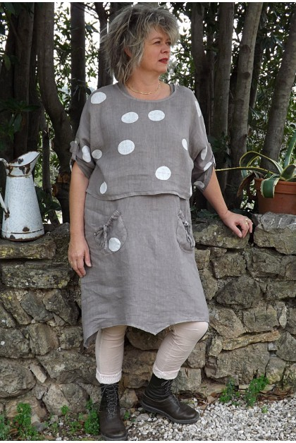Robe et top en lin Suzette taupe