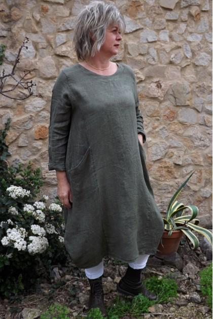 Robe lin Celestine kaki délavé