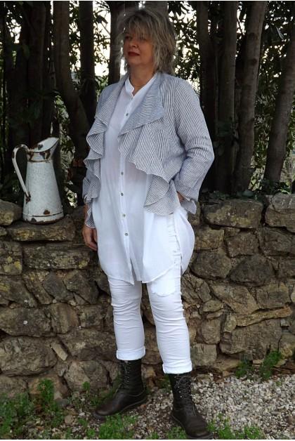 Veste courte lin Anais rayures anthracites et blanches, liquette coco et pantalon Lenny