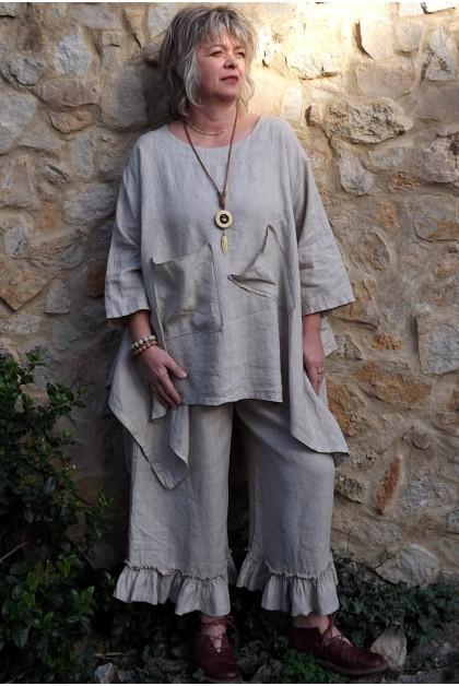 Tunique lin grande taille Honorine beige