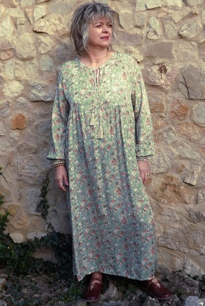Robe longue Fernande imprimé sur fond jade