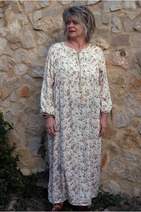 Robe longue Fernande imprimé sur fond beige