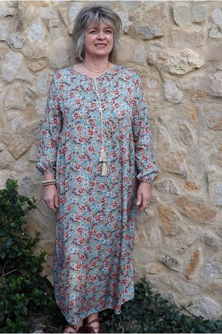 Robe longue Fernande imprimé sur fond adriatique
