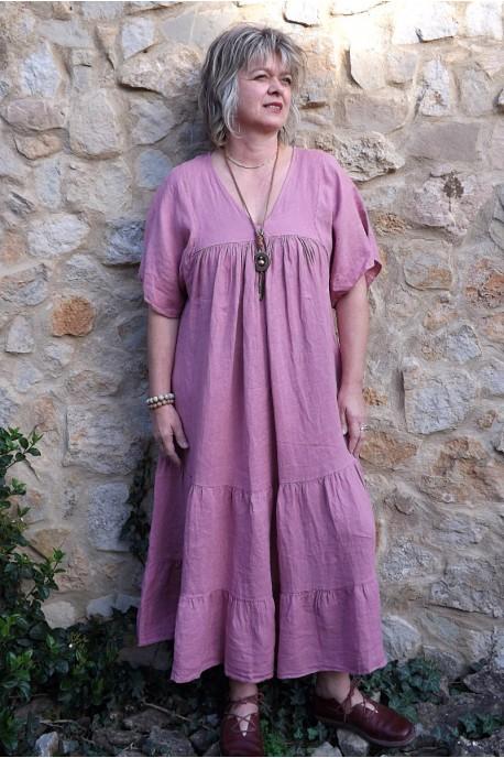 Robe longue lin Anastasia framboise