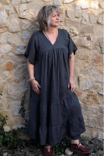 Robe longue lin Anastasia anthracite