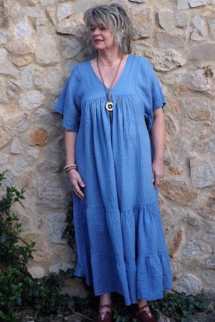 Robe longue lin Anastasia bleu céleste