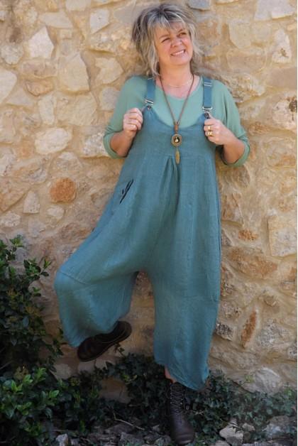 Salopette lin Amandine vert jade et top coton Théo