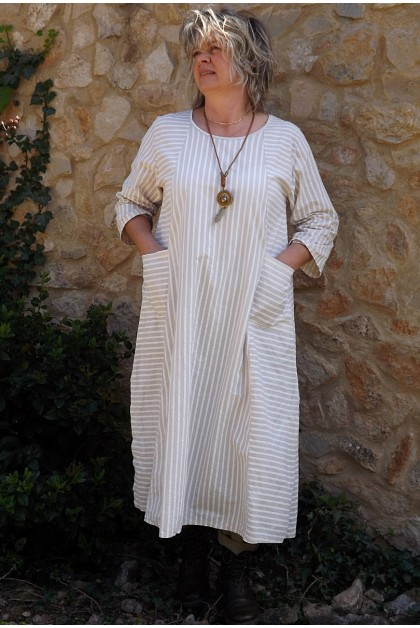 Robe coton beige rayures blanches Audrey