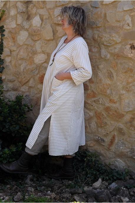Robe coton beige rayures blanches Audrey et pantalon lin Gabriel