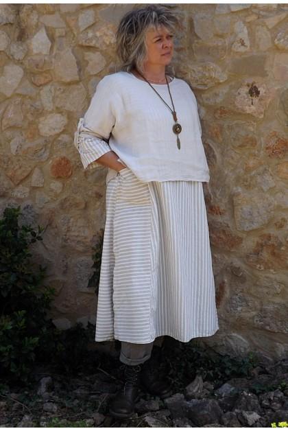 Top en lin Maxime beige et robe coton Audrey