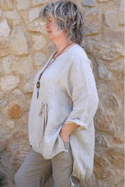 Tunique lin Rosalie taupe délavé et pantalon lin Gabriel