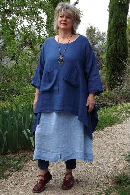 Tunique lin grande taille Honorine bleu roi