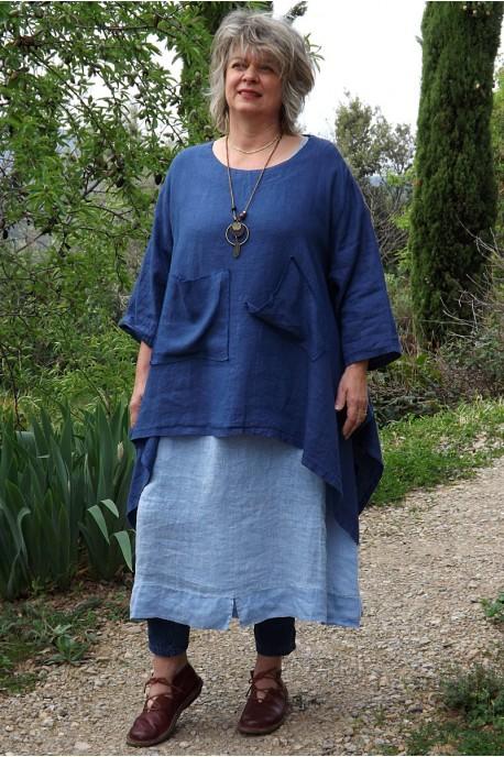 Tunique lin grande taille Honorine bleu roi et robe lin Eurydis