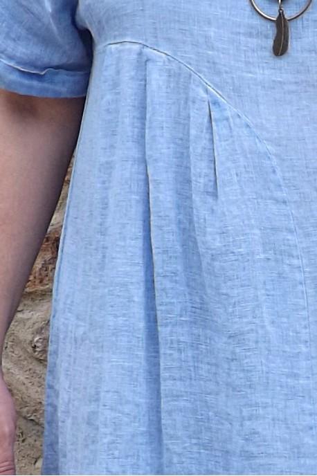Robe lin bleu ciel délavé Eurydis