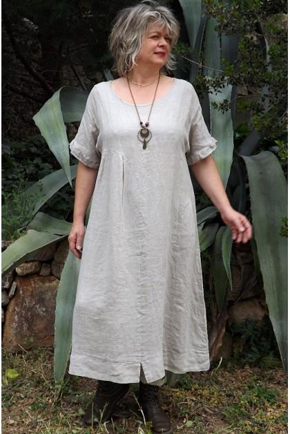 Robe lin taupe délavé Eurydis