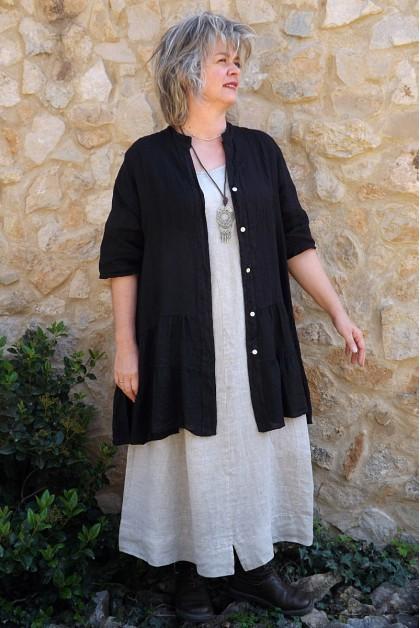 Veste ou tunique lin noire Eugénie