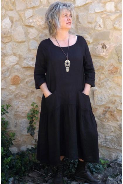 Robe longue lin Cassandre noire