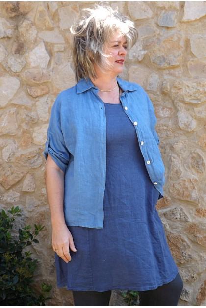 Chemise lin Albane bleue