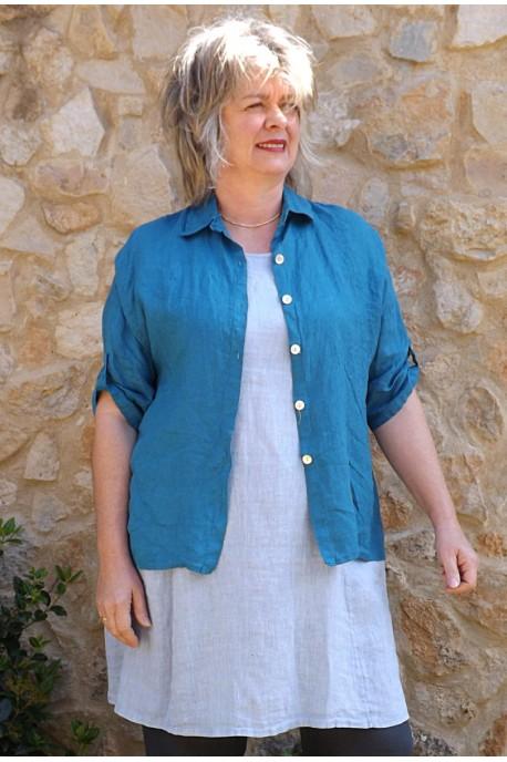 Chemise lin Albane bleu canard, tunique lin Blandine et pantalon lin Gabriel