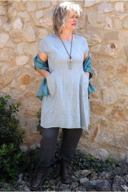Tunique en lin gris souris Blandine