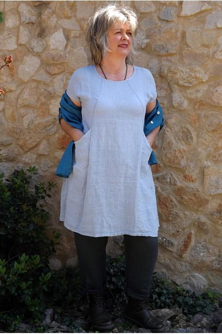 Tunique en lin bleu ciel Blandine et pantalon lin Gabriel