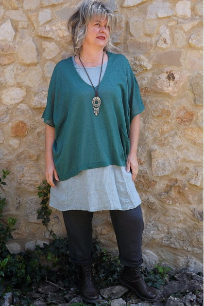 Top maille légère vert Barbara, tunique Blandine et pantalon lin Gabriel