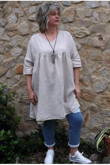 Tunique lin grande taille beige Marinette rt pantalon Angus