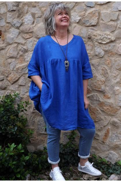 Tunique lin grande taille bleu roi Marinette