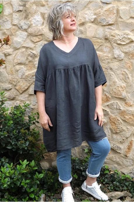 Tunique lin grande taille anthracite Marinette et pantalon Angus