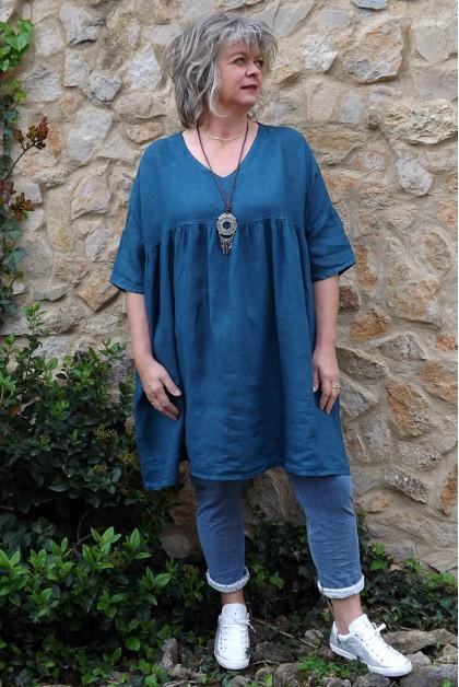 Tunique lin grande taille bleu canard Marinette