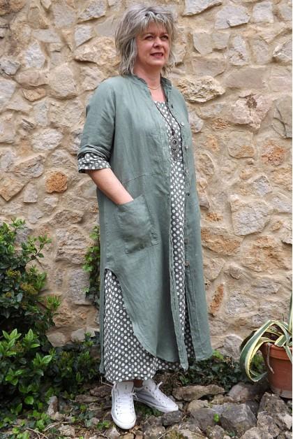 Veste longue en lin Aloïs kaki et robe lin Diane