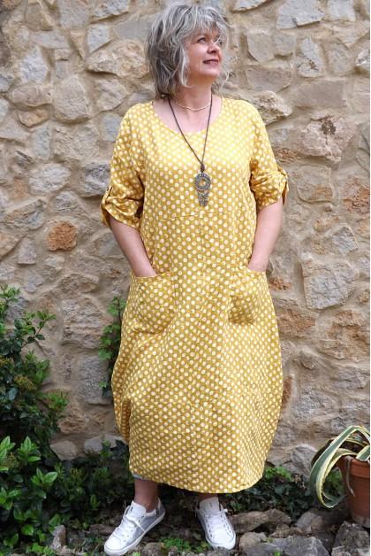 Robe longue lin Diane safran