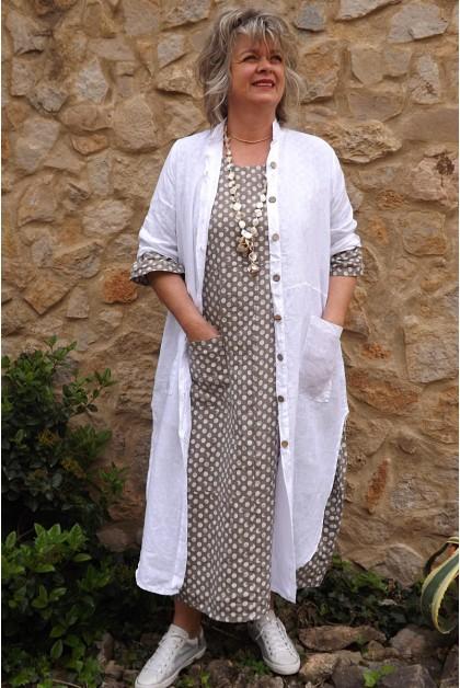 Veste longue en lin Aloïs blanche